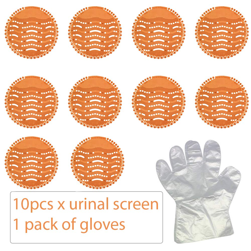Blue, 5 Pack + 13 pairs gloves Scent Lasts for Up to 5000 Flushes Urinal Screen /& Deodorizer Splash Mats Urinal Deodoriser Fits Most Top Urinal Brands /& Waterless
