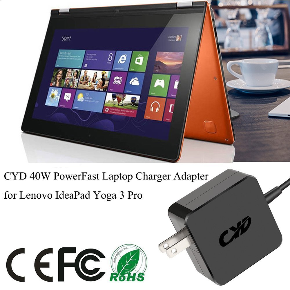 CYD 40W 20V 2A Powerfast-Replacement for Laptop-Charger Lenovo Yoga 3 700 1170 1470 1370 pro 11 14 900s-12isk Ideapad Miix 700 80ql0008us adl40wdb ...
