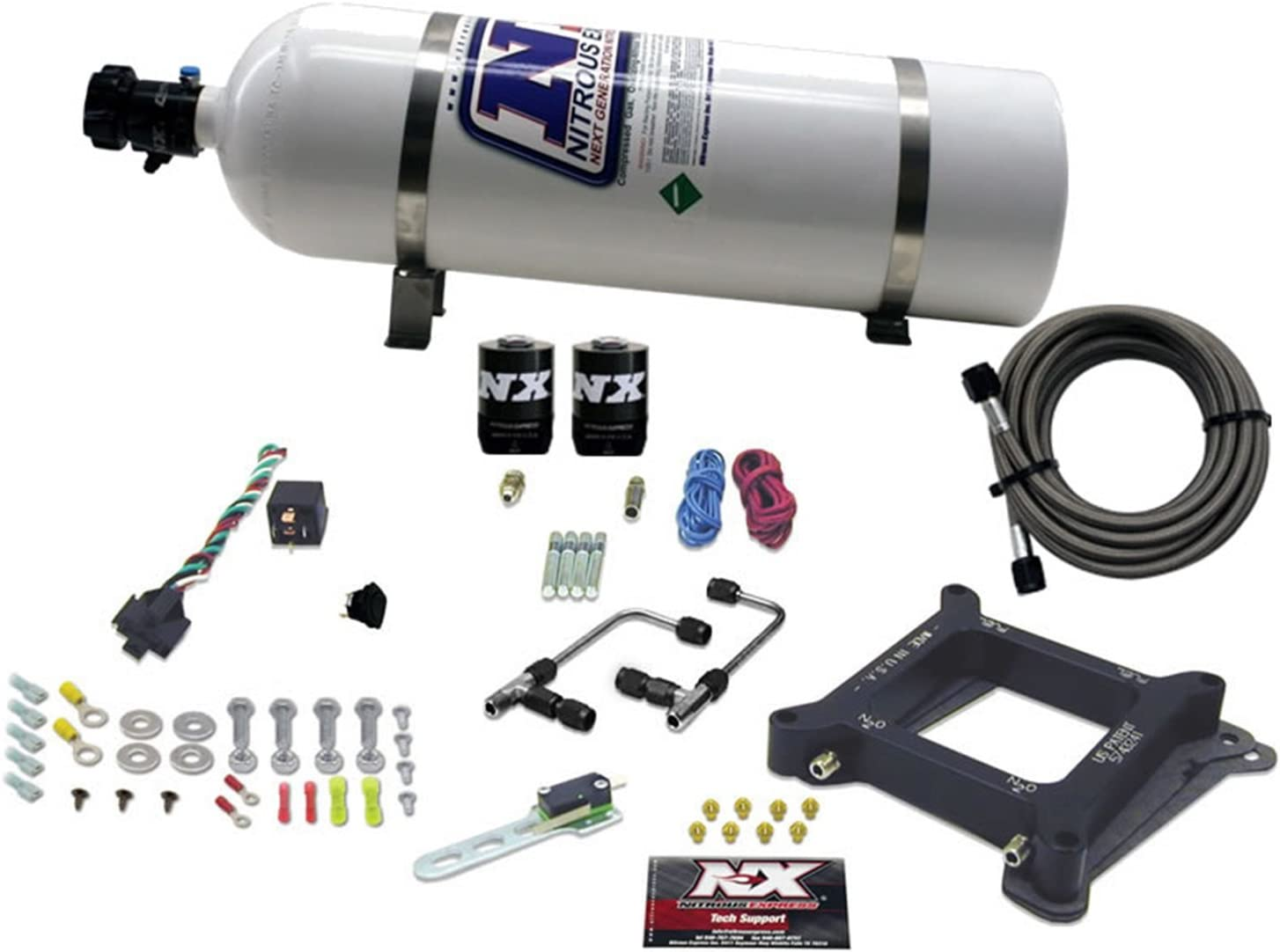 Nitrous Express 30040-05 4150 50-300 HP 4-BBL Gasoline Conventional Stage 6 Plate System with 5 lbs Bottle