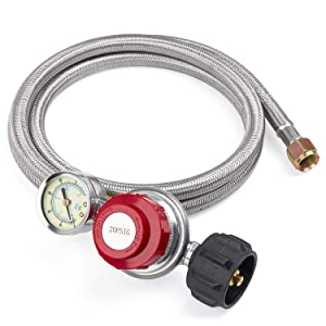 "SHINESTAR 5FT 20 PSI High Pressure Adjustable Propane Regulator Hose with Gauge, Stainless Steel Braided Regulator and Hose for Turkey Fryer, Smoker, Gas Grill, Gas Cooker -3/8"" Female Flare Fitting"