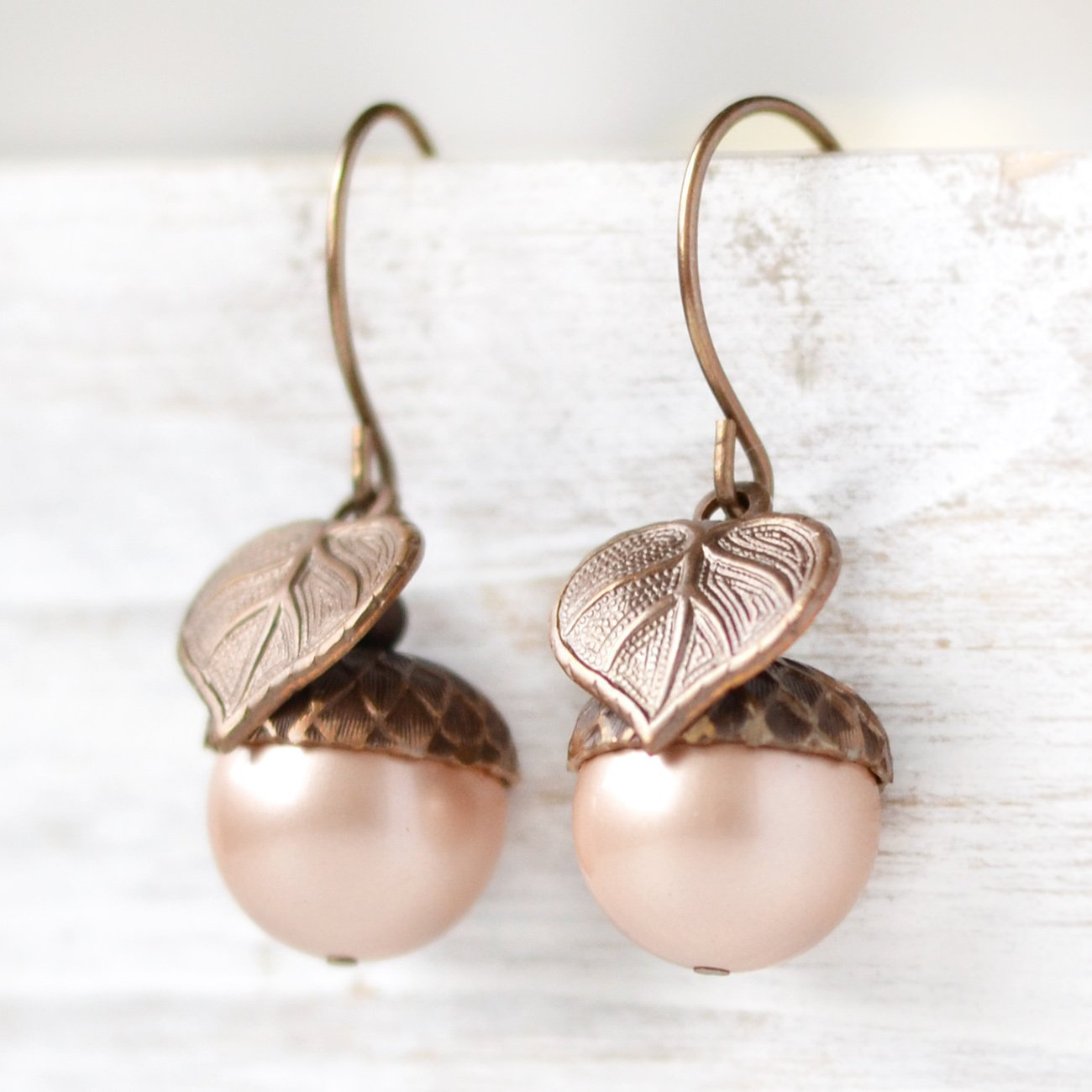 Large Simulated Pearl Acorn Earrings