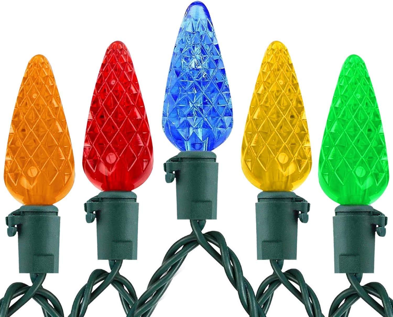 Fimghsoo C3 Christmas Light Strings Outdoor - Waterproof 50 LED Strawberry Bulbs Decor Lights - 17 Feet Colored Christmas Light, C3 Multicolored Bulbs for Patio Garden Holiday Indoor Home Decorating