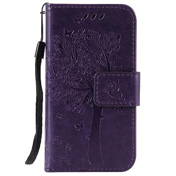 PU Leder Flip Cover Brieftasche Geldb/örse Wallet Case Ledertasche Handyh/ülle Tasche Schutzh/ülle mit Handschlaufe Strap f/ür iPhone 4 4S Baum Katze Pink ISAKEN Kompatibel mit iPhone 4 4S H/ülle