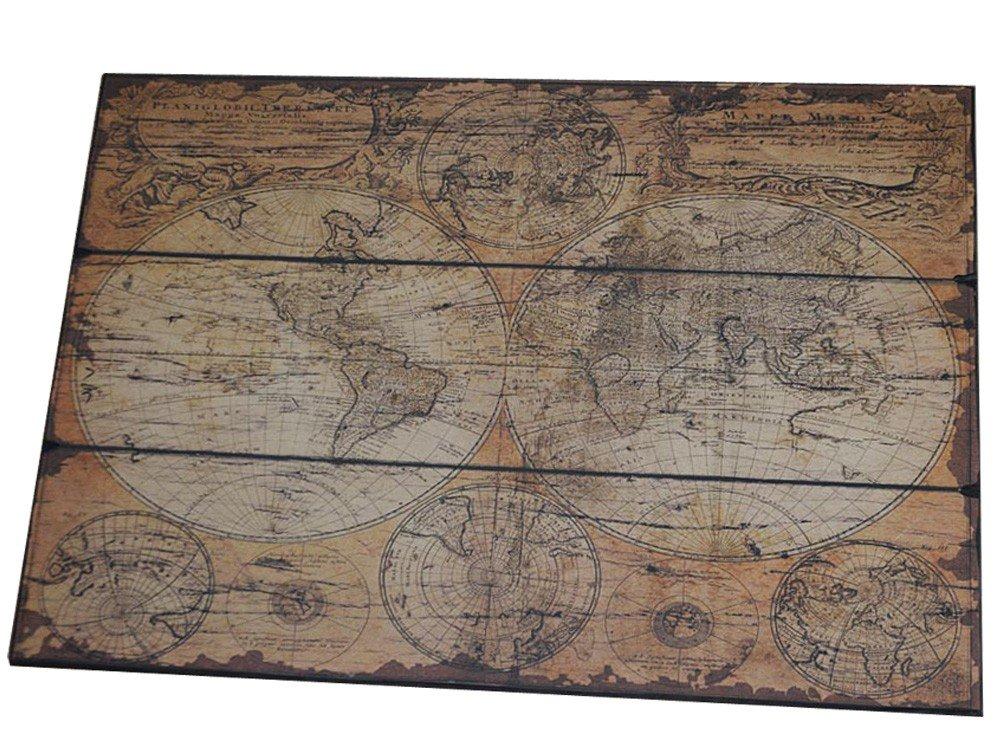 Antike Weltkarte Auf Holz Landkarte Vintage Antik Karte Alte Welt ...