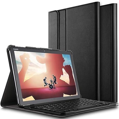 ELTD Teclado Estuche para Huawei MediaPad M5 Lite 10,[QWERTY Inglés], Slim