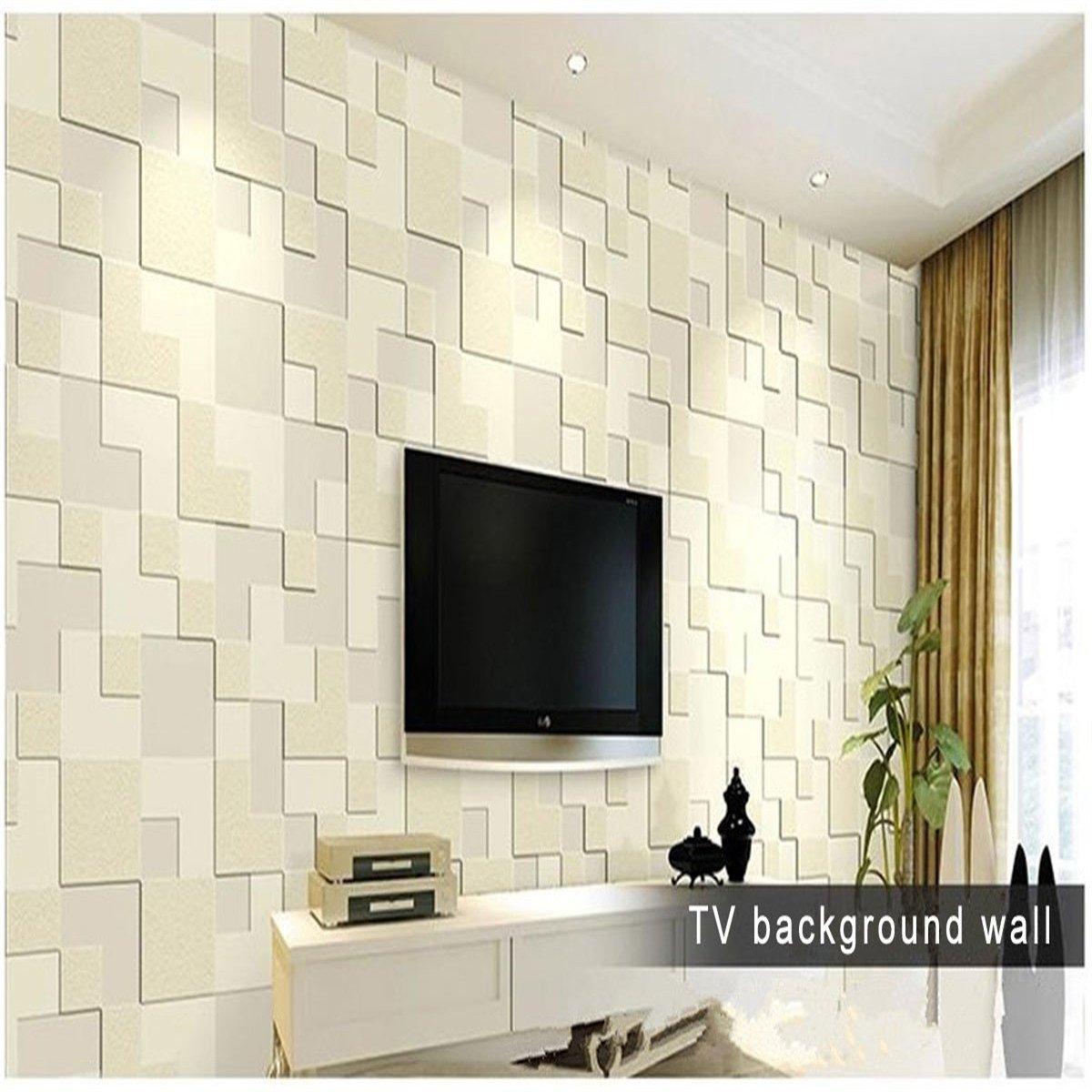 Bluelover 10M Moderne Einfache 3D Mosaik Living Zimmer Vlies-Tapete ...