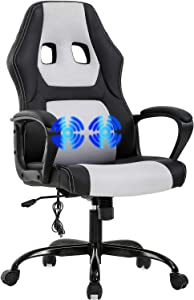Gaming Chair Office Chair Desk Chair Massage Ergonomic PU Leather Racing Chair with Lumbar Support Headrest Armrest Task Rolling Swivel Computer Chair for Women Adults Girls(White)