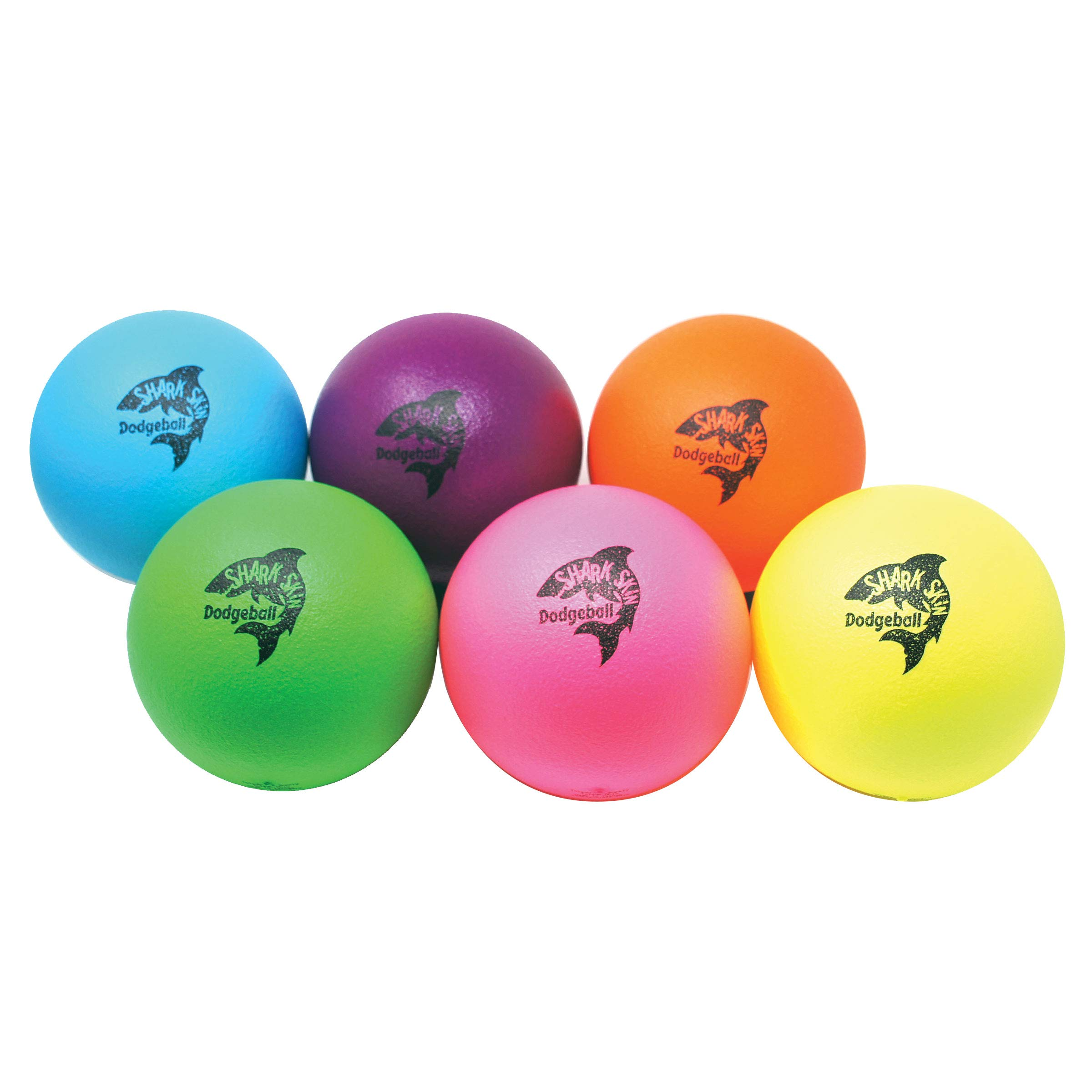 Great Lakes Sports Set of 6 Neon Shark Skin Foam Dodgeballs with Updated Logo by Great Lakes Sports