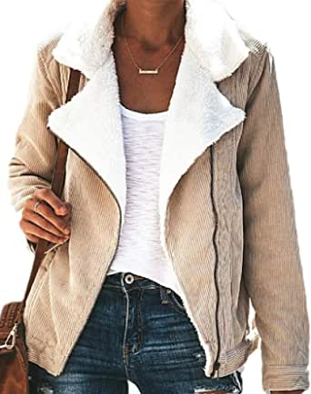 Womens Fleece Lined Corduroy Thickened Warm Quilted Jacket