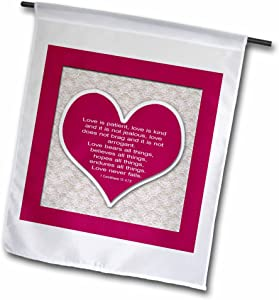 """3dRose Red Heart & Bible Verse On Love On A Lace Background. - Garden Flag, 12 by 18"""""""