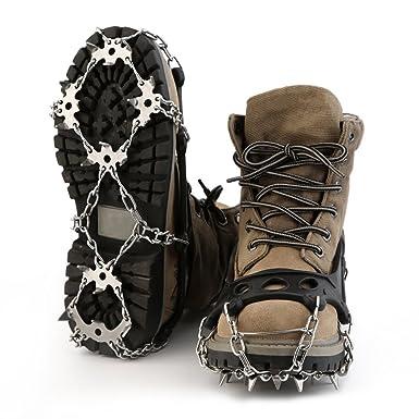 migvela crampones antideslizante zapatos tacos de 18 dientes para invierno senderismo escalada senderismo nieve y hielo