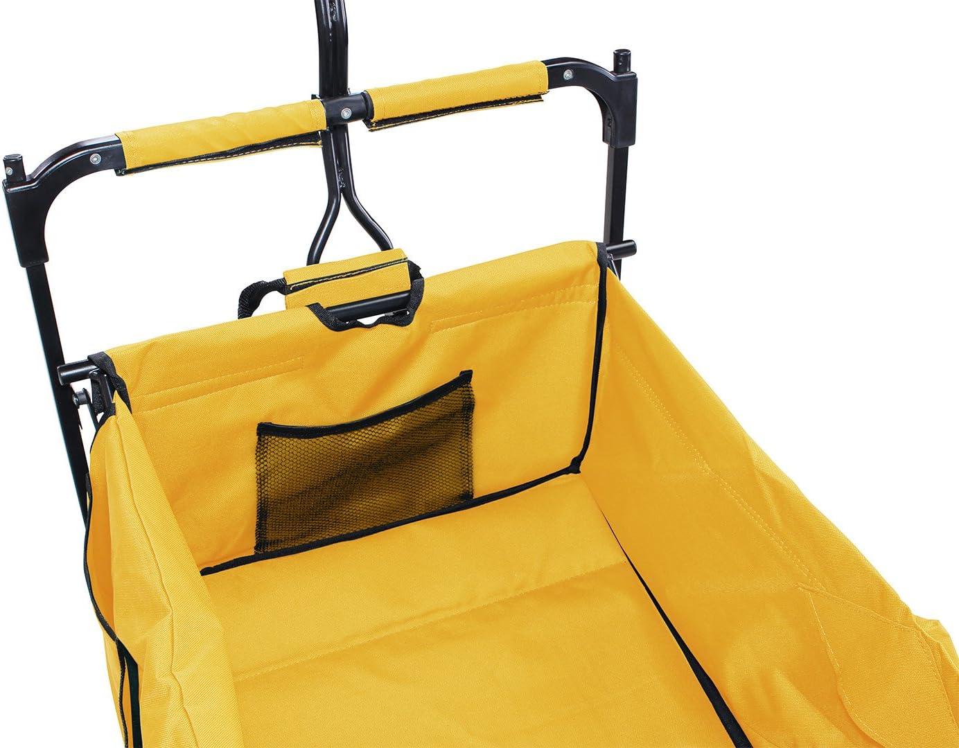 Bremse Dach Orange PU-Breitreifen Transporttasche Handwagen faltbar Klappbar Miweba Faltbarer Bollerwagen MB-10 f/ür Kinder UV-Best/ändig