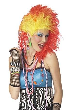 80s Cyndi True Colours funky wig - orange and yellow punky wig (peluca): Amazon.es: Juguetes y juegos