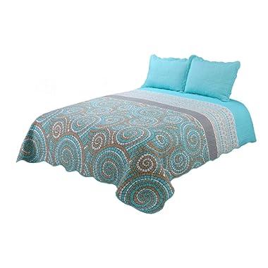 vivinna home textile Quilt King Size Sets -3pcs Include 2 Pillow Shams Patchwork Bedspread Blanket (King:106 x96 , Neon Blue)