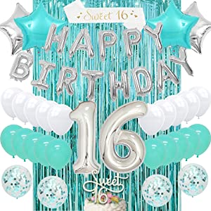 Sweet 16 Birthday Decorations Teal Girls Sixteen Birthday Supplies Turquoise with 16th Cake Topper Blue Confetti Balloons Sash Teal Curtain