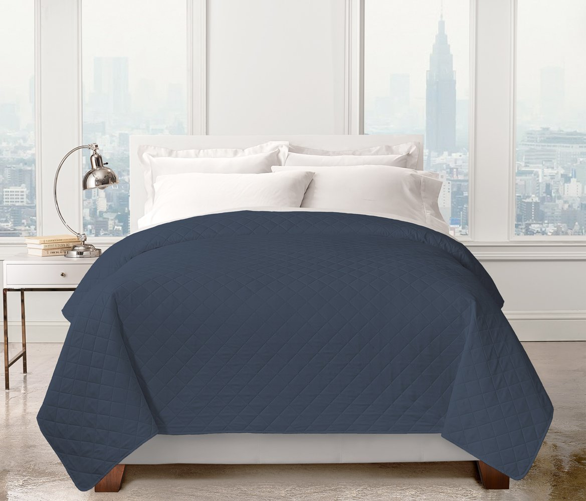 Bed Quilt Set- Designed and Printed- Rich Looking Sheets for the bedrooms (Full/Queen, C/Navy)
