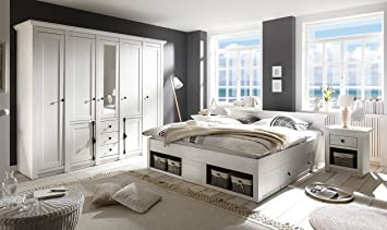 Lifestyle4living Schlafzimmer, Schlafzimmermöbel, Set, Komplettset,  Schlafzimmereinrichtung, Komplettangebot, Landhausstil, Weiß
