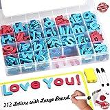 磁性字母,212件 A-Z 泡沫磁字母带大干擦双面磁性板,教育字母冰箱磁铁适用于学前学习、拼写