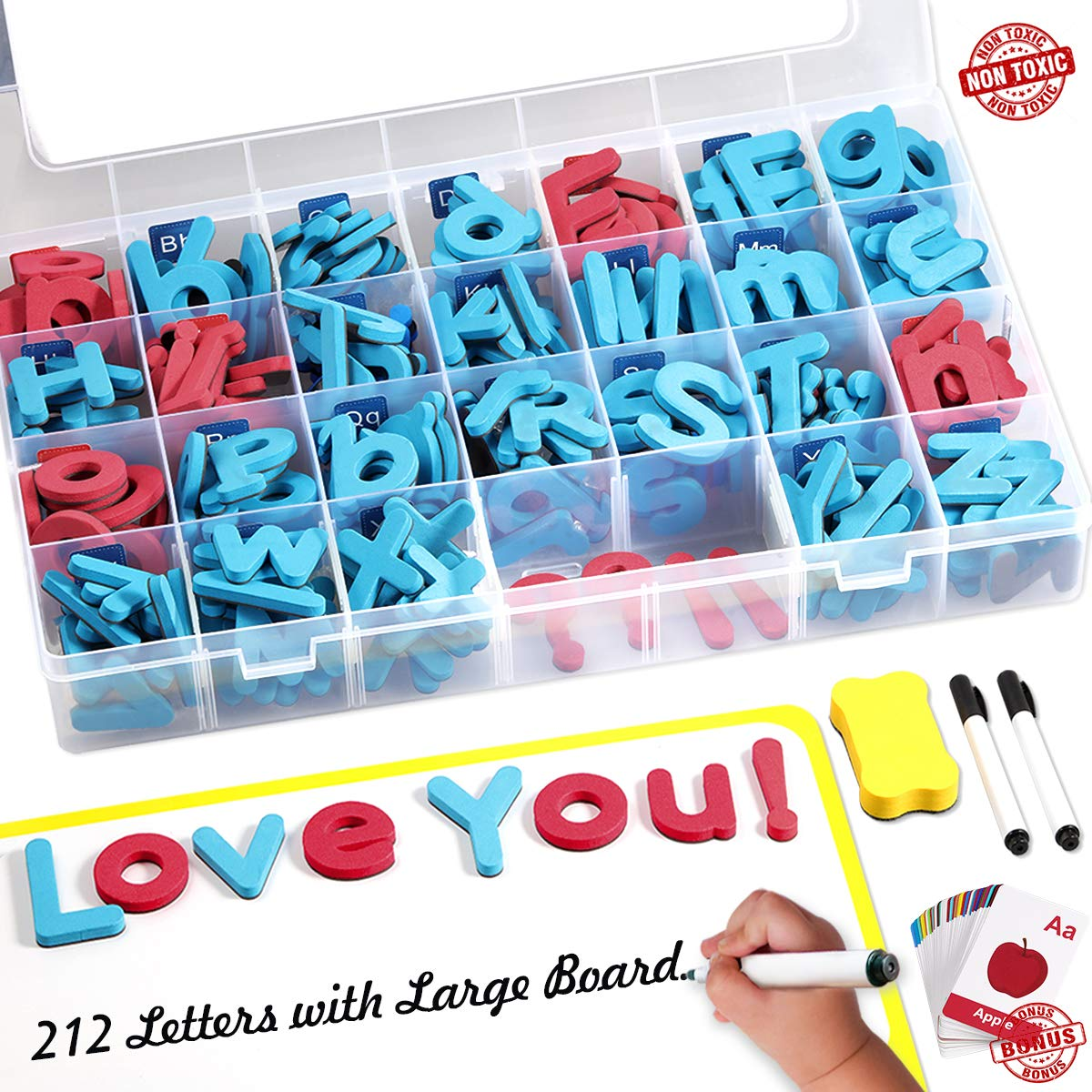 Magnetic Letters Kit, 212Pcs A-Z Foam Magnetic Letters, Alphabet Letters with Large Double-Side Magnet Board and Learning Cards, Educational Refrigerator Magnets for Preschool Learning Spelling by Spruce