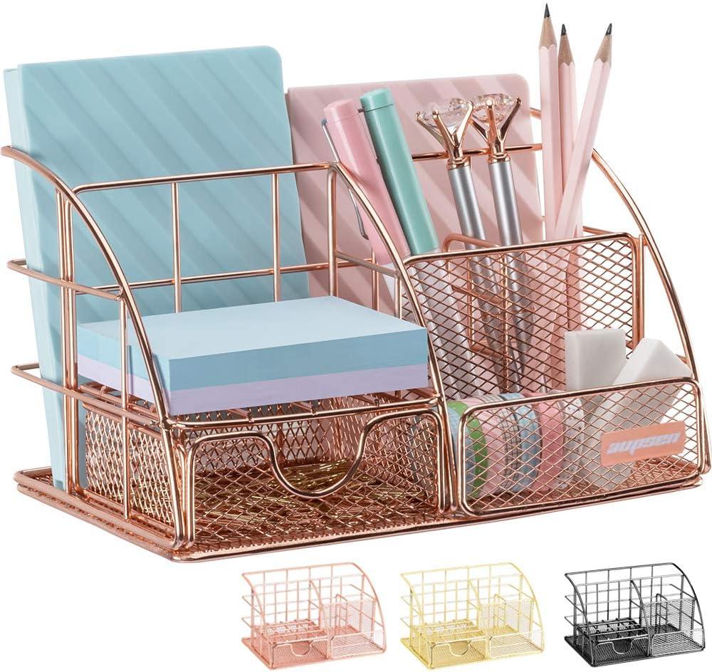 Rose Gold Desk Organizer for Women, AUPSEN Mesh Office Supplies Desk  Accessories, Features 38 Compartments + 38 Mini Sliding Drawer