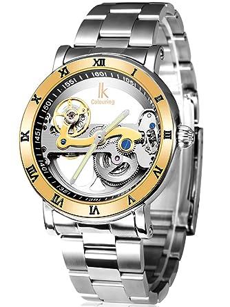 Alienwork IK Reloj Mecánico Automático Relojes Automáticos Hombre Mujer Acero inoxidable plata Analógicos Unisex Impermeable 5 ATM esqueleto: Amazon.es: ...