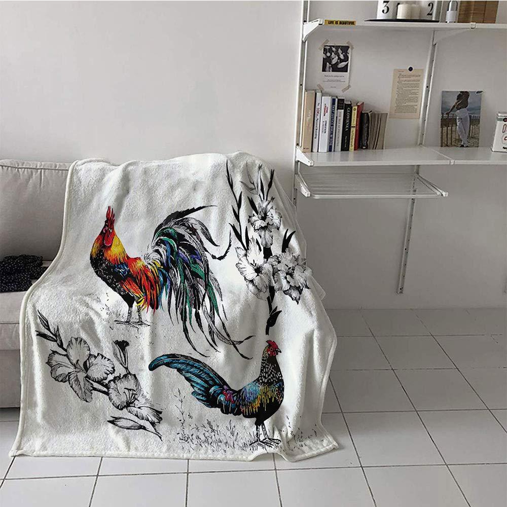 子供用毛布 椅子 ブランケット ソファ カウチ ベッド用 60×80インチ Gallos 装飾コレクション 雄鶏と花 枝 茎 草 野草 アートワーク プリント イエロー ティール ブルー   B07RLYF87D
