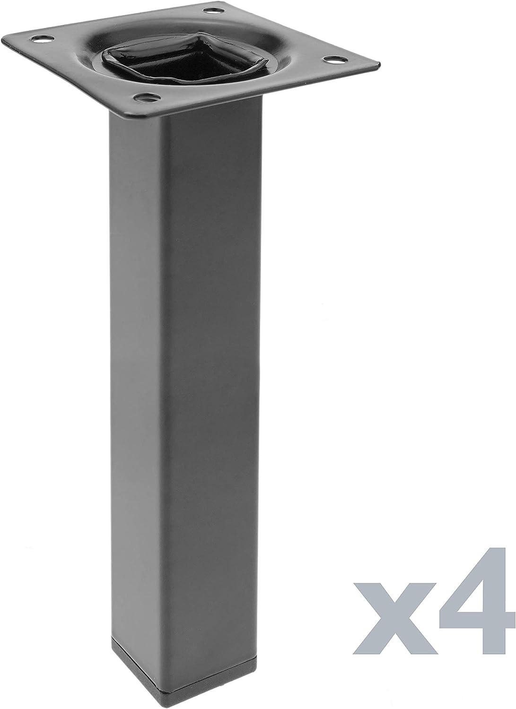 incluye montaje a rosca de tubo redondo de 30 mm de di/ámetro Paquete de 1 longitud de 300 mm Element System 11100-00173 Pata de muebles de acero inoxidable