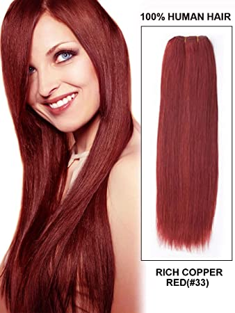Amazon fohair human hair weave color 33 rich copper red 100 fohair human hair weave color 33 rich copper red 100 indian remy wefts hair extensions pmusecretfo Choice Image