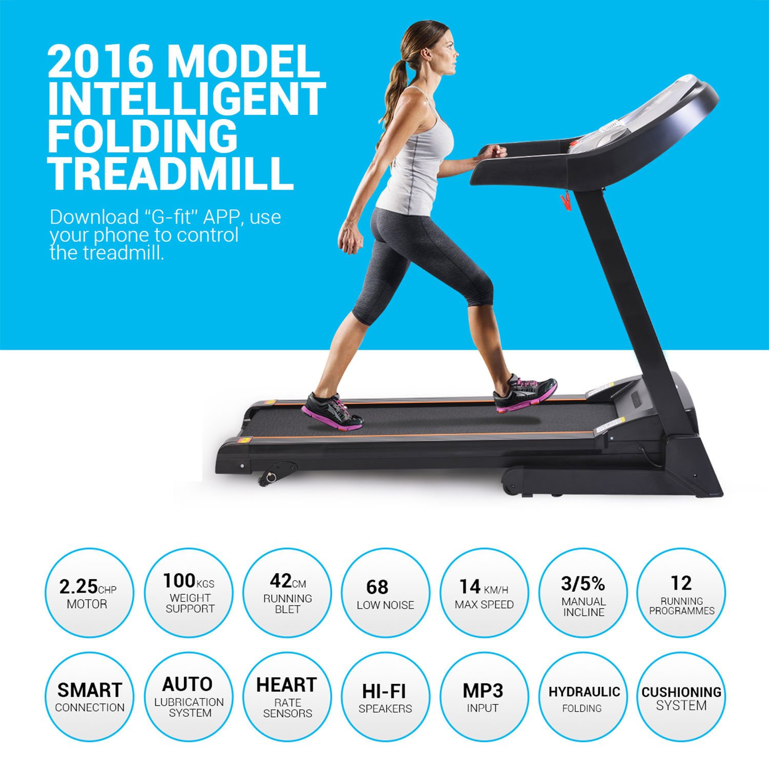 Miageek Fitness Folding Electric Jogging Treadmill with Smartphone APP Control, Walking Running Exercise Machine Incline Trainer Equipment Easy Assembly (2.25 HP - Black) by Miageek (Image #6)