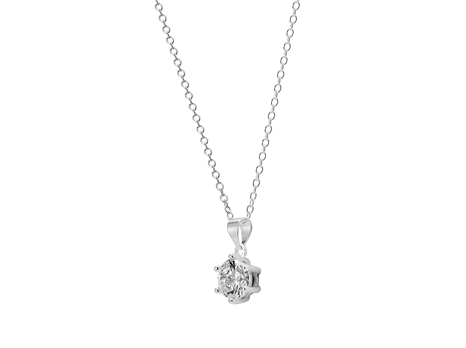 Abigail at the Winter Dance,Silver-Plated,2Kt Pendant,Round-Cut Cubic Zirconia,Six-Point Ashlynn Avenue