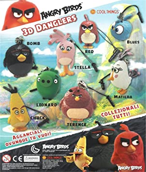 MVS AL POR MAYOR Paquete de 10 colgantes Angry Birds 3d (50 mm) Ideal