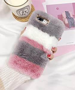 Losin Plush Case Compatible with Apple iPhone 6 Plus/iPhone 6S Plus 5.5 Inch Fashion Luxury Cute Colorful Fuzzy Furry Winter Rabbit Hair Warm Plush Fluffy Fur Soft TPU Back case