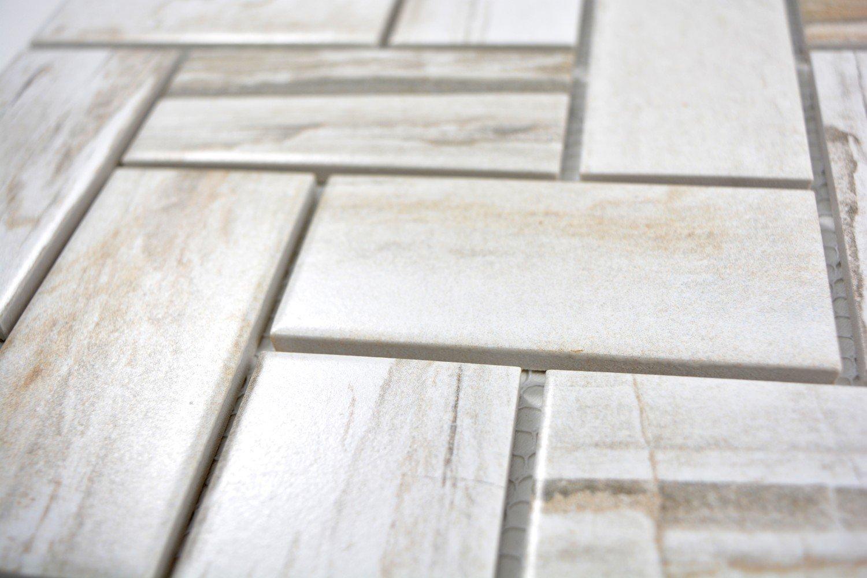 Mosaik Fliese Keramik beige Fischgr/ät Holz hell f/ür BODEN WAND BAD WC DUSCHE K/ÜCHE FLIESENSPIEGEL THEKENVERKLEIDUNG BADEWANNENVERKLEIDUNG Mosaikmatte Mosaikplatte