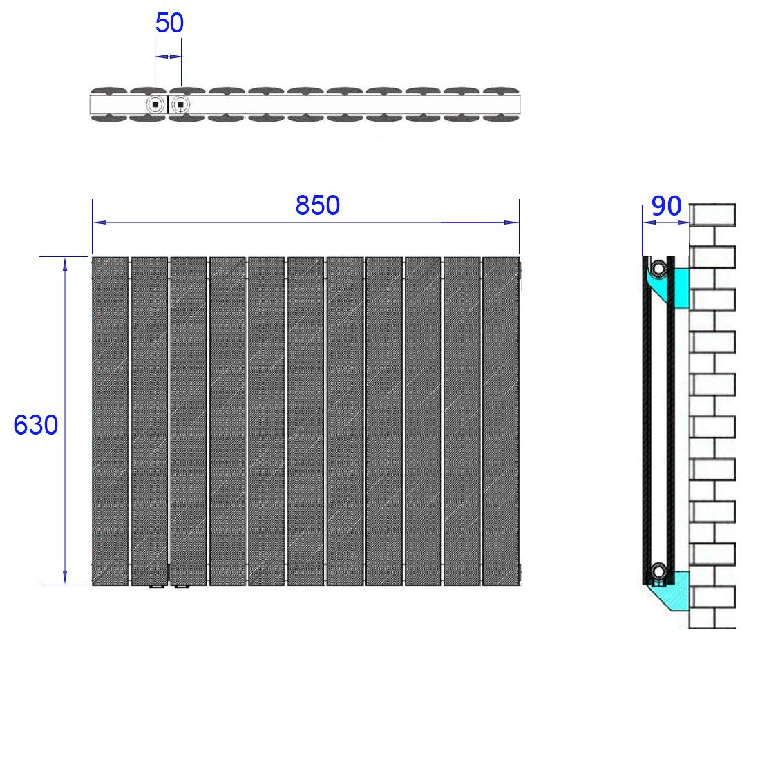 Design Flach Heizk/örper 630 x 850 mm Horizontale Antrazit Panelheizk/örper Seitenanschluss Doppellagig Heizung