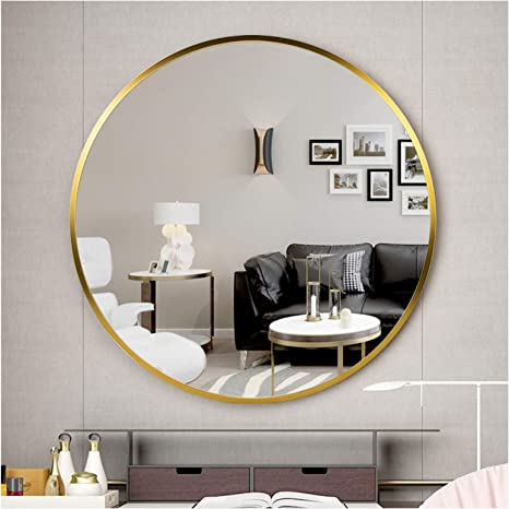 Memolin Round Mirror 18 Inch Large Metal Frame Rustic Accent Mirror Wall Mounted Vanity Mirror For Bathroom Entryway Dining Room Living Room Wall Decor Vanity Gold Kitchen Dining