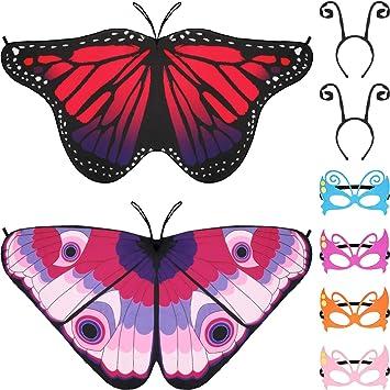 Gejoy 8 Piezas Disfraz de Mariposa para Niños, Incluye Alas de ...