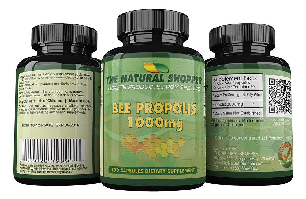 Bee Propolis - honeybee supplement for immune system and antioxidant 1000mg / 100 caps