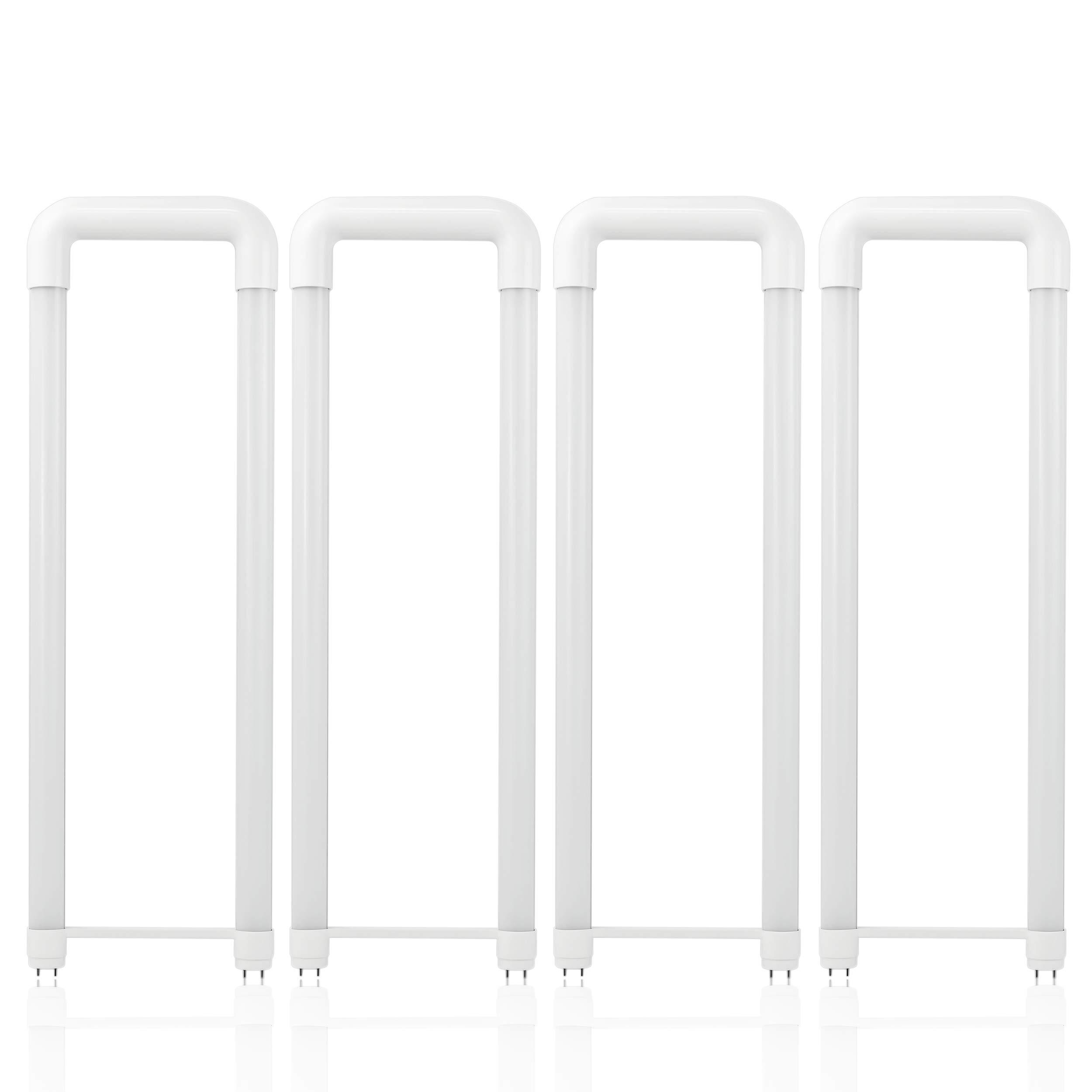 Hyperikon U Bent LED Tube, 2x2 Foot, 40 Watt (18W) Frosted, T8 T10 T12 Light Bulbs, 4000K Daylight, Shatterproof, 4 Pack