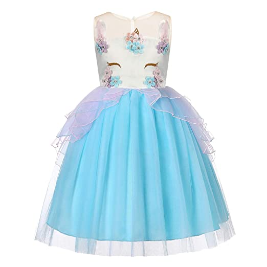Baby Girls Unicorn Dress Flower Princess Dress up Birthday Party Prom  Sleeveless Tulle Gown for 2 a7ed61377331