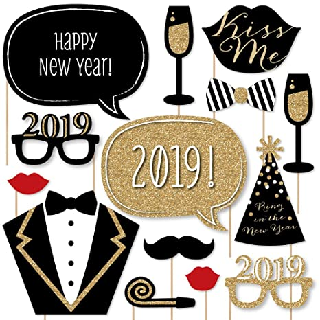 new years eve party gold 2019 new years photo booth props kit 20
