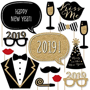 New Years Eve Party Gold 2019 New Years Photo Booth Props Kit