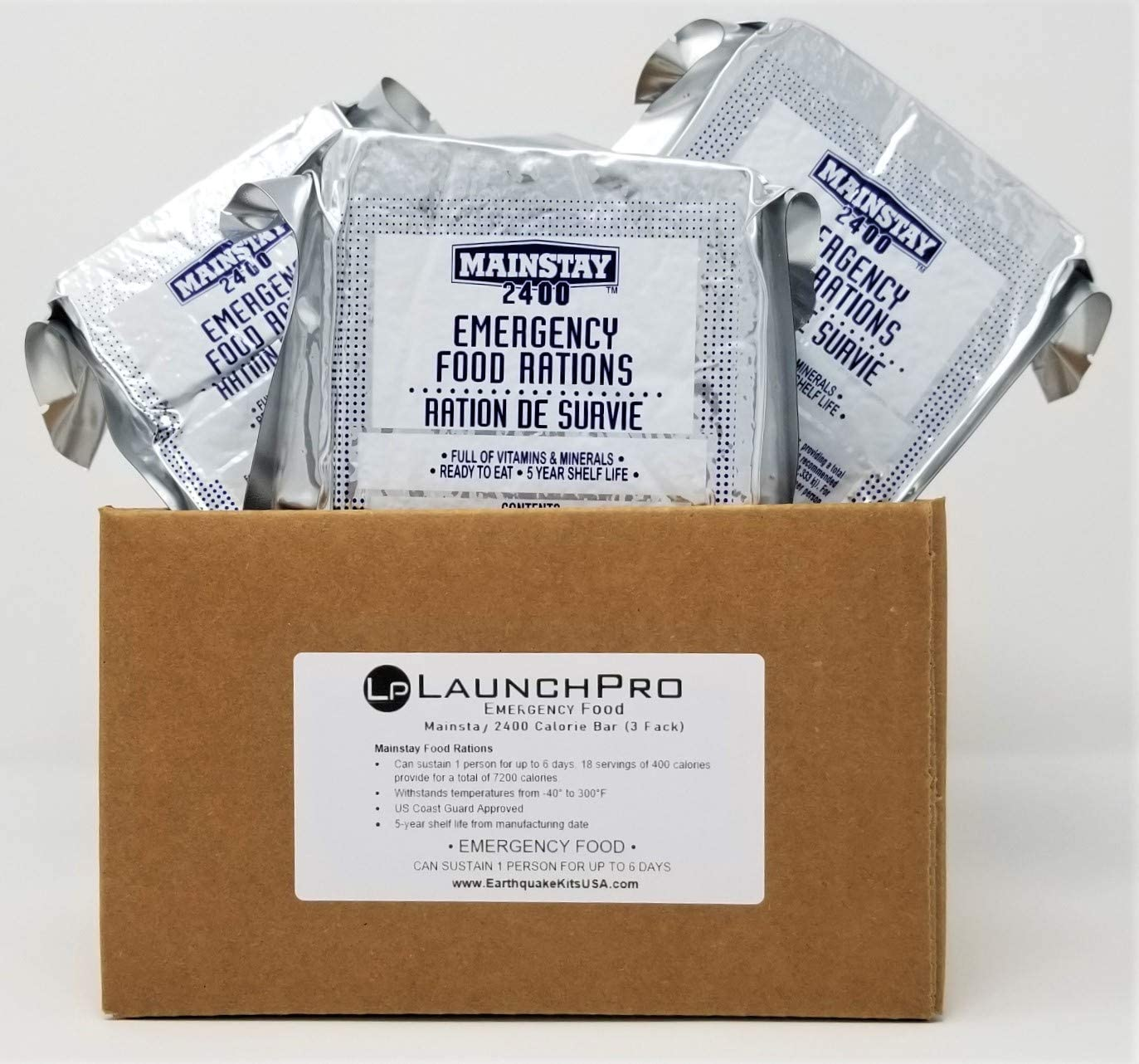 LaunchPro Emergency Food Rations 2400 Calorie Food Bars (Pack of 3)