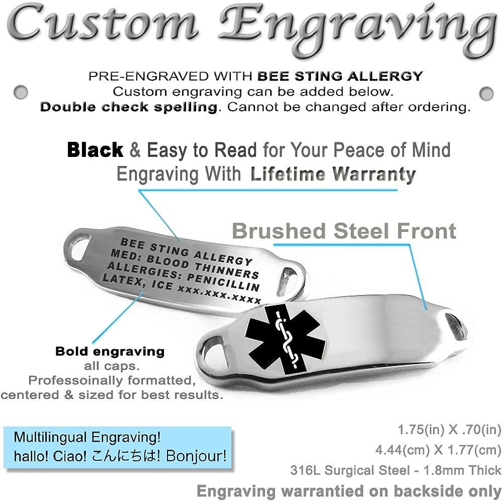 Pre-Engraved /& Customizable Treenut Allergy Alert Bracelet White Symbol Oval Link My Identity Doctor