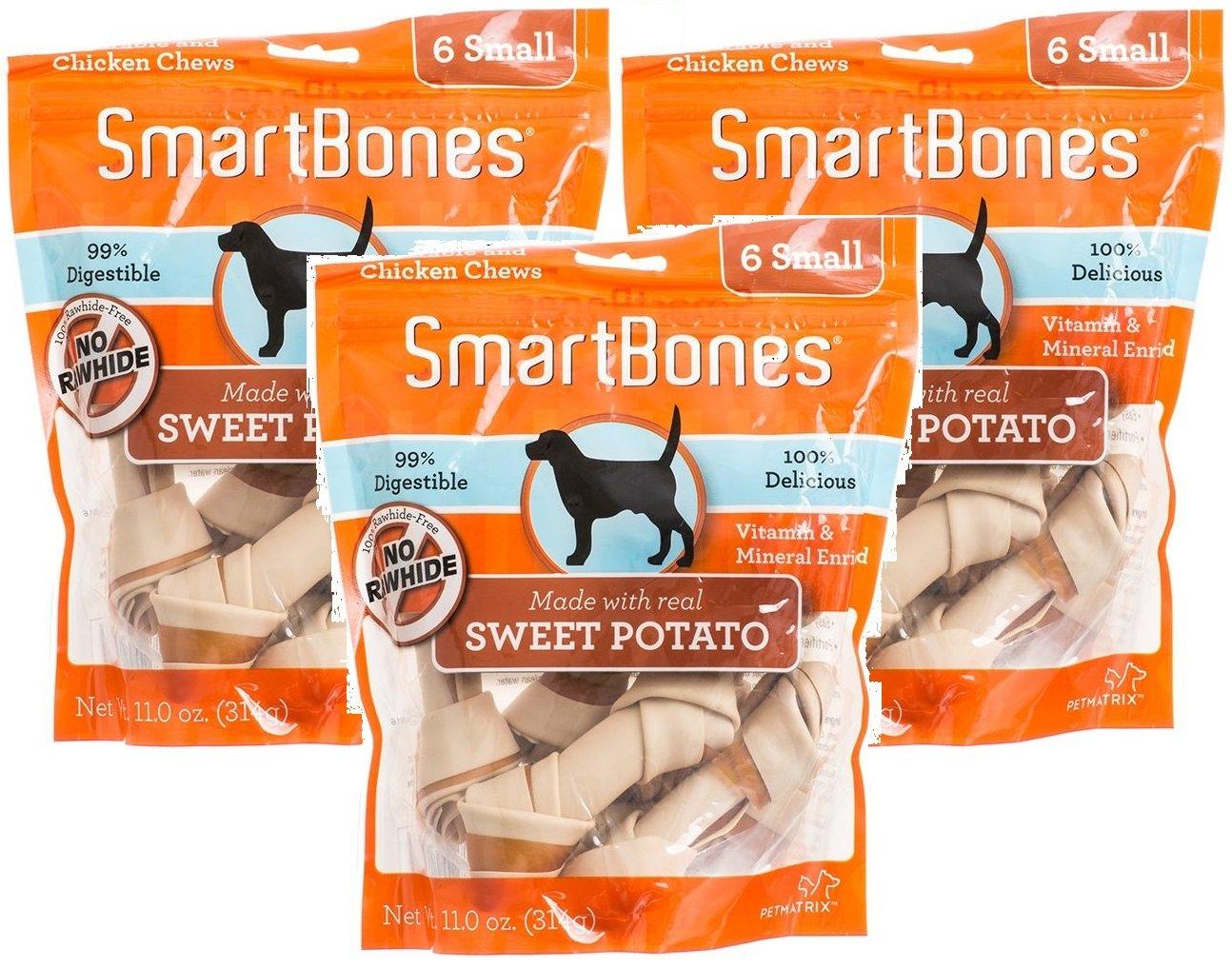 (3 Pack) SmartBones Vegetable and Chicken Small Bones with Real Sweet Potato - (6 Bones Per Package / 18 Bones Total)