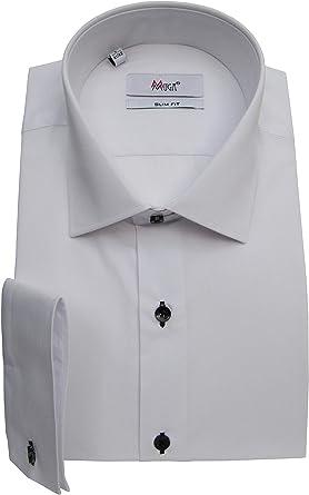 MMUGA - Camisa de manga larga para hombre con botones negros ...