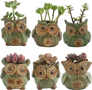 Ogrmar 6Pack Owl Plant Window Boxes Cute Owl Flower Pot/Modern Ceramic Succulent Planter Pots/Tiny Flower Plant Containers Animal Decor (Owl Flower Pot 2)