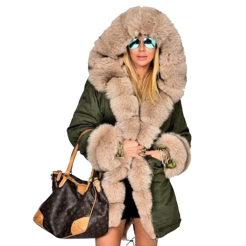 New Women Parka Casual Warm Outwear Hooded Coat Fur Manteau Woman Clothes COOL-JULY-Coat&Jacket