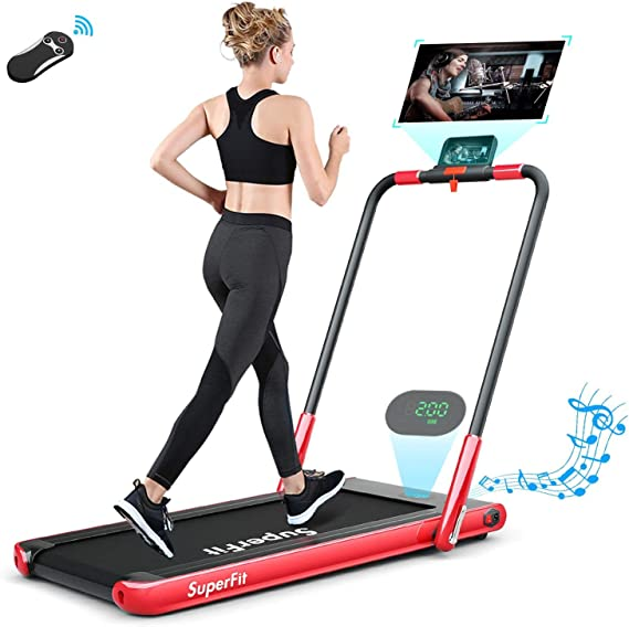 KARKEIN 2 in 1 Folding Treadmill for Home,Electric Portable Space Saving Fitness Motorized Walking Running Machine with Bluetooth Audio Speakers and Phone Holder