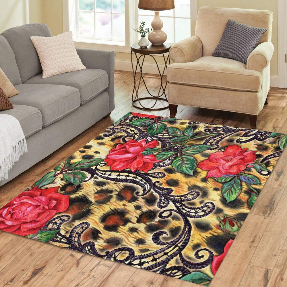 Pinbeam Area Rug Red Roses And Laces On Leopard Watercolor Home Decor Floor Rug 3 X 5 Carpet Amazon Co Uk Kitchen Home