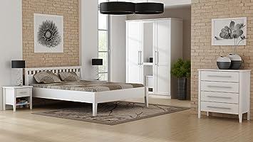 PAULA Schlafzimmer Set Schrank 3-trg Bett 160x200 cm Kiefer weiß ...